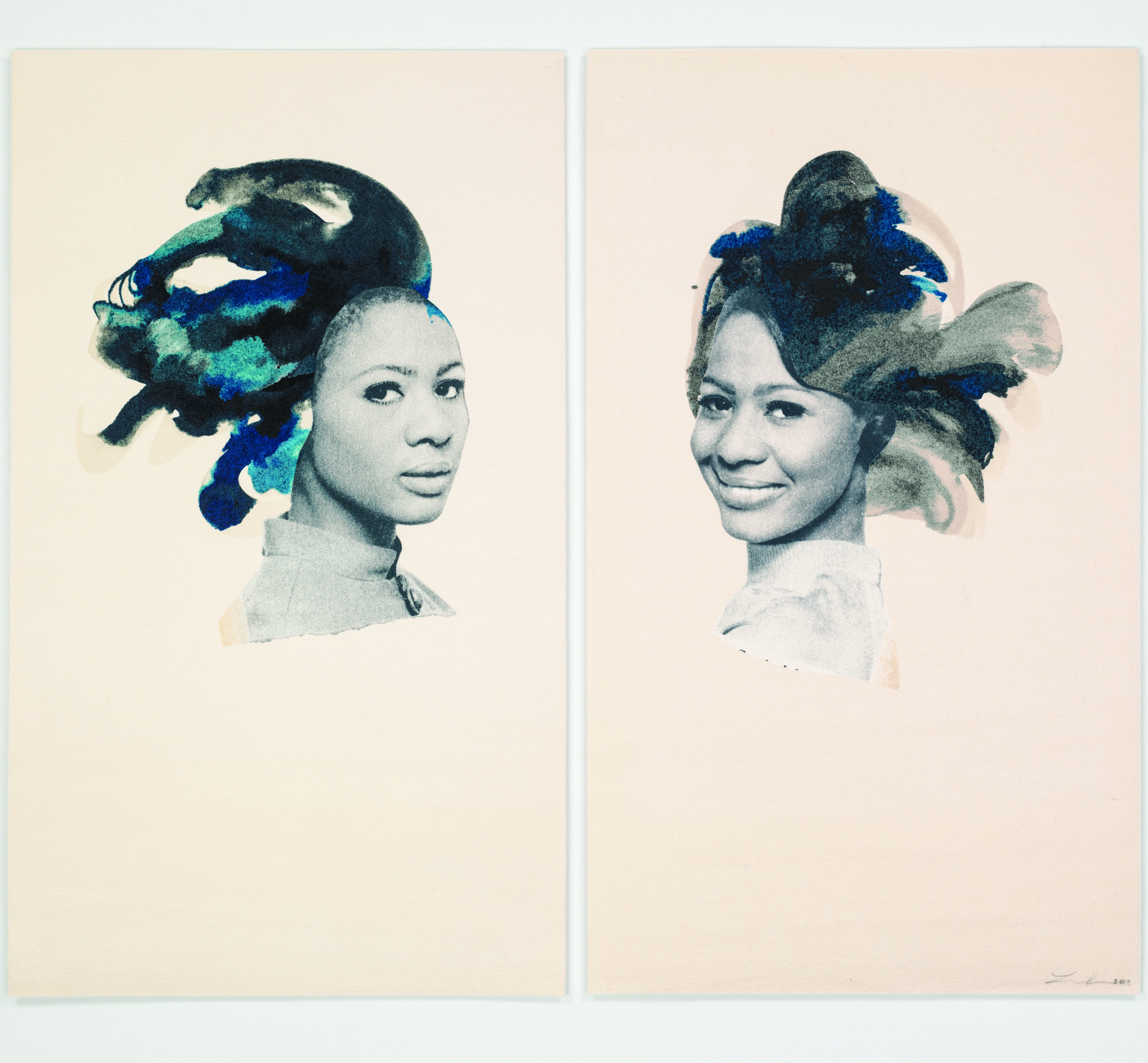 Lorna Simpson, Double Portrait, 2015, collage and ink on paper, 22.1 x 28.4 cm Courtesy Salon 94 and the artist